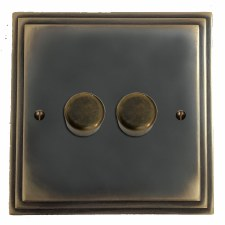 Edwardian Dimmer Switch 2 Gang Dark Antique Relief