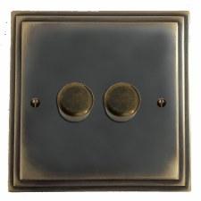 Edwardian Dimmer Switch 2 Gang Dark Antique Relief
