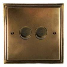 Edwardian Dimmer Switch 2 Gang Hand Aged Brass