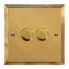 Edwardian Dimmer Switch 2 Gang Polished Brass Unlacquered