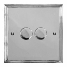 Edwardian Dimmer Switch 2 Gang Polished Chrome