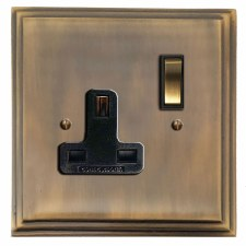 Edwardian Switched Socket 1 Gang Antique Brass Lacquered