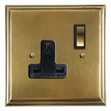Edwardian Switched Socket 1 Gang Antique Satin Brass