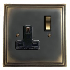 Edwardian Switched Socket 1 Gang Dark Antique Relief