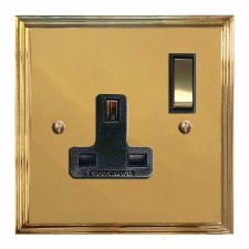 Edwardian Switched Socket 1 Gang Polished Brass Unlacquered