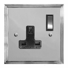 Edwardian Switched Socket 1 Gang Polished Chrome & Black Trim