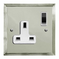 Edwardian Switched Socket 1 Gang Polished Nickel