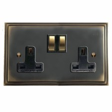 Edwardian Switched Socket 2 Gang Dark Antique Relief