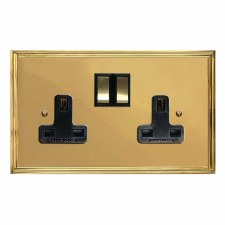 Edwardian Switched Socket 2 Gang Polished Brass Lacquered & Black Trim