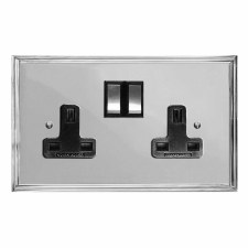 Edwardian Switched Socket 2 Gang Polished Chrome & Black Trim