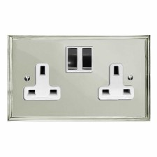 Edwardian Switched Socket 2 Gang Polished Nickel