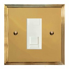 Edwardian Telephone Socket Secondary Polished Brass Lacquered & White Trim