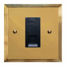 Edwardian Telephone Socket Secondary Polished Brass Lacquered & Black Trim