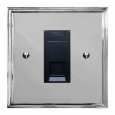 Edwardian Telephone Socket Secondary Polished Chrome & Black Trim