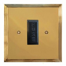 Edwardian Fused Spur Connection Unit 13 Amp Polished Brass Lacquered & Black Trim