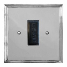 Edwardian Fused Spur Connection Unit 13 Amp Polished Chrome & Black Trim