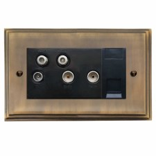 Edwardian Sky+ Socket Antique Brass Lacquered