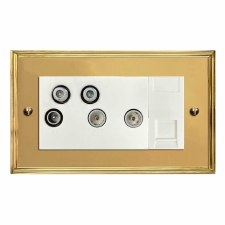 Edwardian Sky+ Socket Polished Brass Lacquered & White Trim