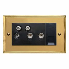 Edwardian Sky+ Socket Polished Brass Lacquered & Black Trim