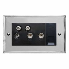 Edwardian Sky+ Socket Polished Chrome & Black Trim