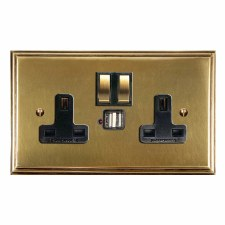 Edwardian Switched Socket 2 Gang USB Antique Satin Brass