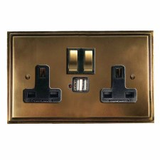 Edwardian Switched Socket 2 Gang USB Hand Aged Brass