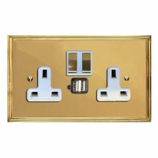 Edwardian Switched Socket 2 Gang USB Polished Brass Lacquered & White Trim