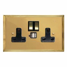 Edwardian Switched Socket 2 Gang USB Polished Brass Unlacquered