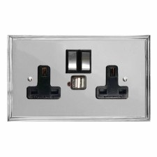 Edwardian Switched Socket 2 Gang USB Polished Chrome & Black Trim