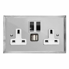 Edwardian Switched Socket 2 Gang USB Polished Chrome & White Trim