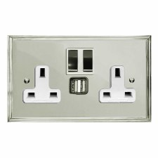Edwardian Switched Socket 2 Gang USB Polished Nickel