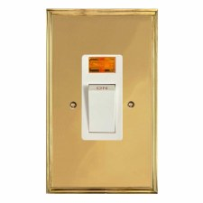 Edwardian Vertical Cooker Switch Polished Brass Lacquered & White Trim