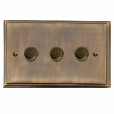Edwardian Dimmer Switch 3 Gang Antique Brass Lacquered