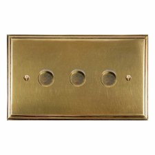 Edwardian Dimmer Switch 3 Gang Antique Satin Brass