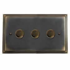 Edwardian Dimmer Switch 3 Gang Dark Antique Relief