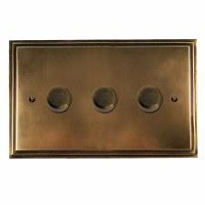 Edwardian Dimmer Switch 3 Gang Hand Aged Brass