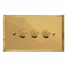 Edwardian Dimmer Switch 3 Gang Polished Brass Unlacquered