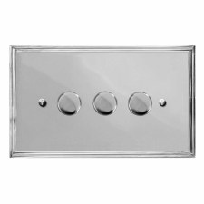 Edwardian Dimmer Switch 3 Gang Polished Chrome
