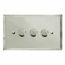 Edwardian Dimmer Switch 3 Gang Polished Nickel