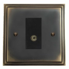 Edwardian TV Socket Outlet Dark Antique Relief