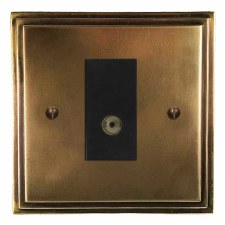 Edwardian TV Socket Outlet Hand Aged Brass