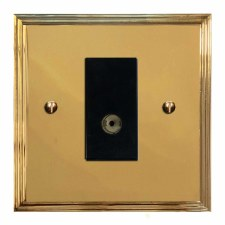 Edwardian TV Socket Outlet Polished Brass Unlacquered