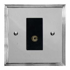 Edwardian TV Socket Outlet Polished Chrome & Black Trim