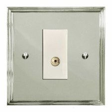 Edwardian TV Socket Outlet Polished Nickel