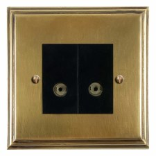 Edwardian TV Socket Outlet 2 Gang Antique Satin Brass