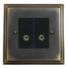 Edwardian TV Socket Outlet 2 Gang Dark Antique Relief