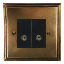 Edwardian TV Socket Outlet 2 Gang Hand Aged Brass