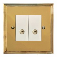 Edwardian TV Socket Outlet 2 Gang Polished Brass Lacquered & White Trim