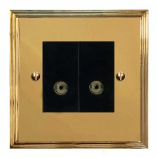 Edwardian TV Socket Outlet 2 Gang Polished Brass Lacquered & Black Trim
