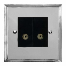 Edwardian TV Socket Outlet 2 Gang Polished Chrome & Black Trim